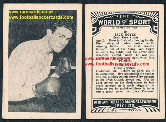 1930's South African Tobacco World of Sport Jack Doyle Irish heavyweight boxer Gorgeous Gael